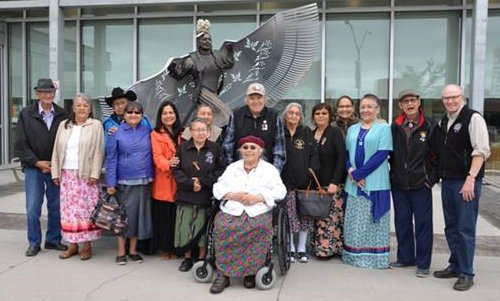 Chief's Advisory Committee in front of MMIWG monument